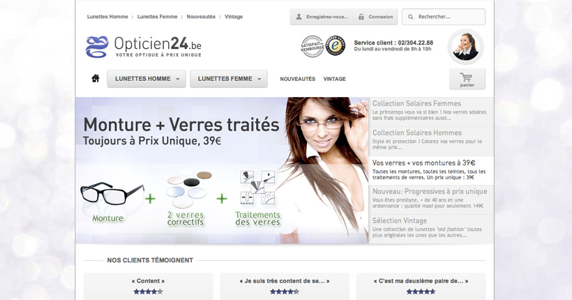 Opticien24 - Page interne du site E-commerce