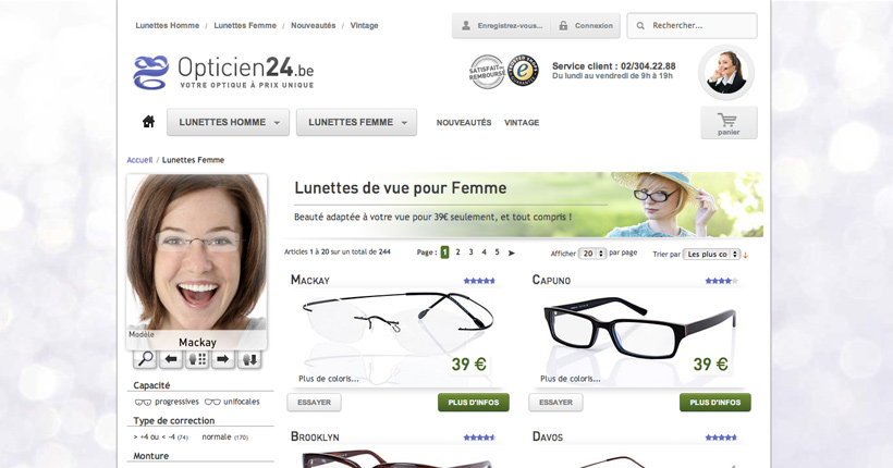 Opticien24 - Module dynamique du site E-commerce