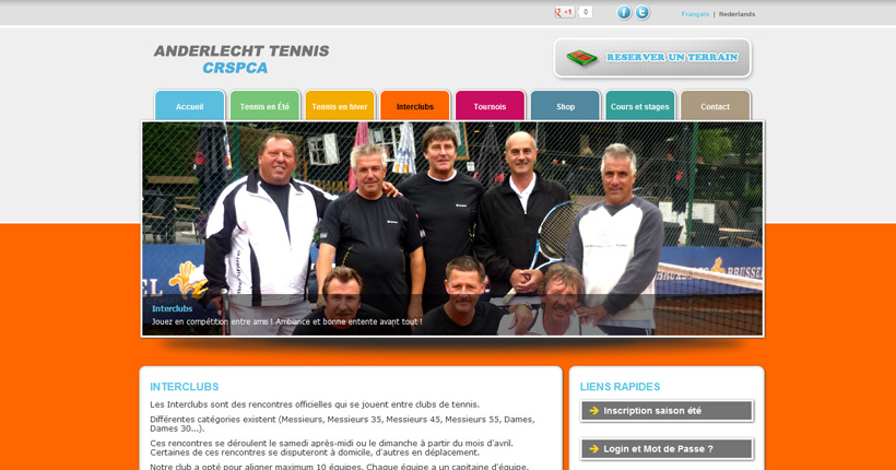 Anderlecht Tennis - Page interclubs du site web