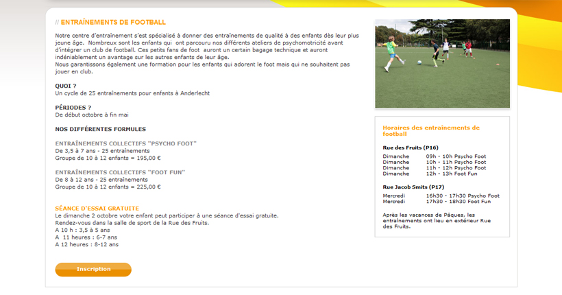 Grand Slam - Page entrainements de football sur le site web