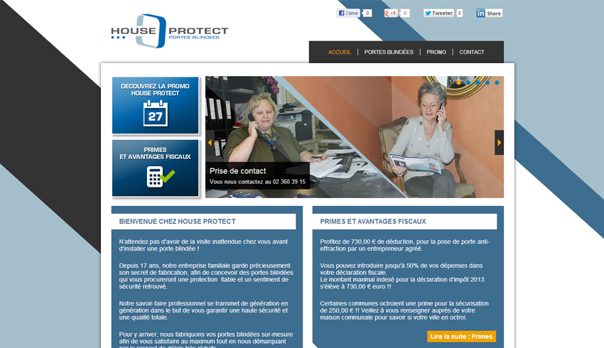 Page d'accueil du site Internet de House Protect